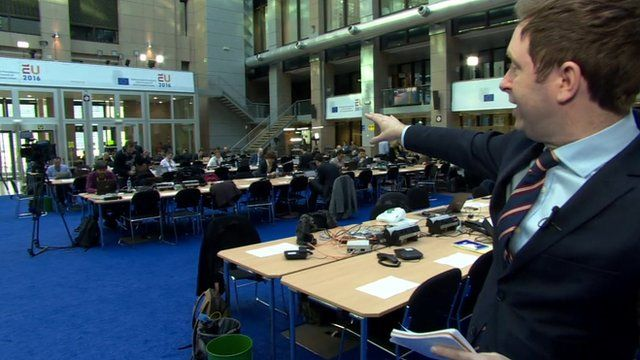 The BBC's Ben Wright in the media centre of the European Council