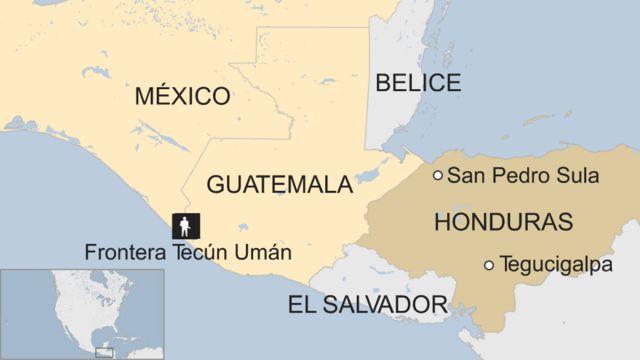 Mapa frontera Tecún Umán