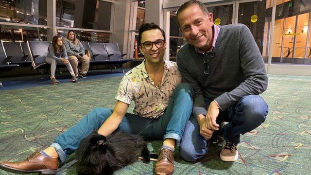 Sasha is reunited with owner Viktor Usov in Portland