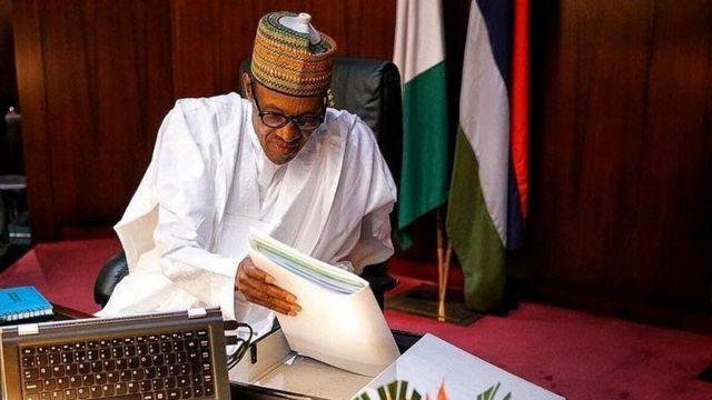 President Buhari inside im office for AAso Rock, Abuja Nigeria