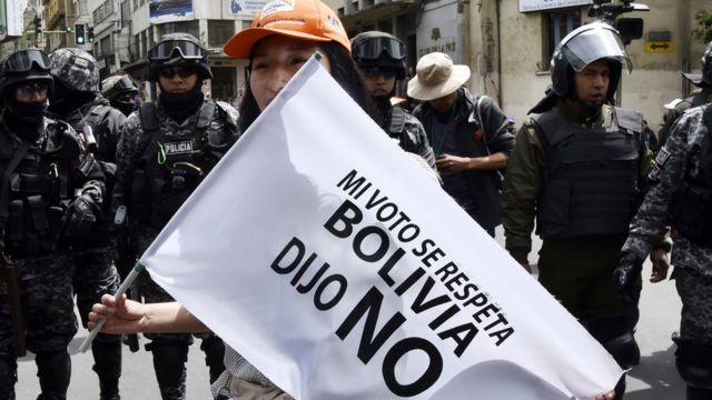Protesta contra la reelección de Evo Morales