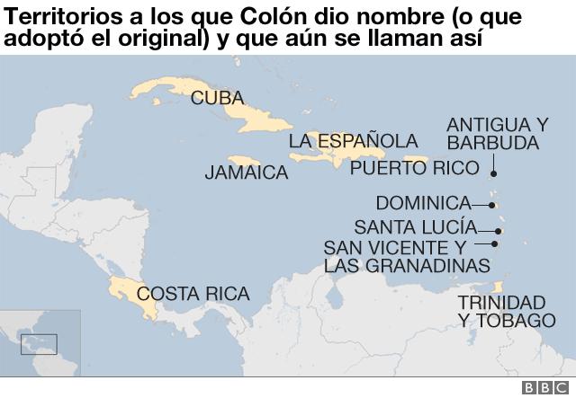 Territorios que Colón nombró.