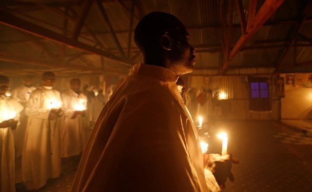 Christmas eve vigil mass in the Fort Jesus area of Nairobi, Kenya, December 25, 2019