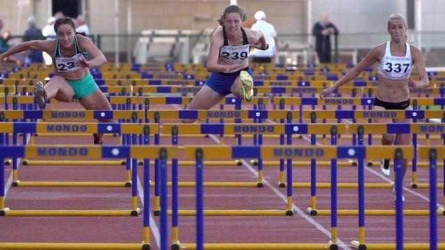 Women hurdlers in training