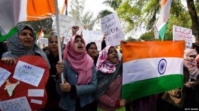 Student protesters near Jamia Millia Islamia in Delhi