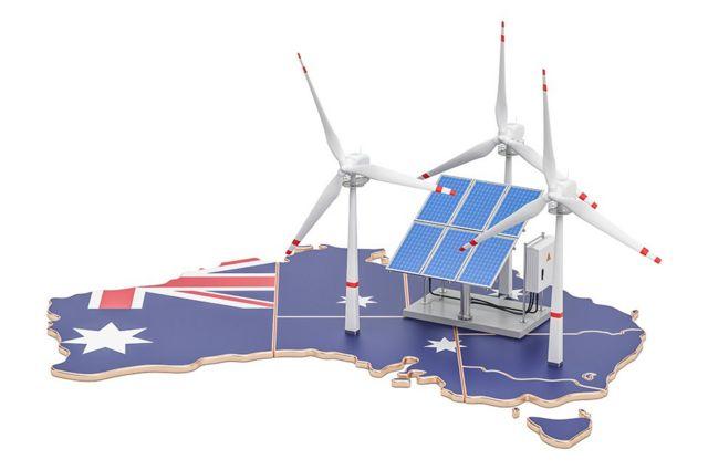 Mapa da Austrália com painéis solares e moinhos de vento