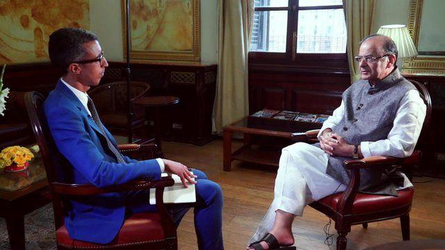 Kamal Ahmed with India's Finance Minister Arun Jaitley