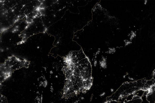 Ảnh chụp Bắc Hàn vào đêm từ vệ tinh