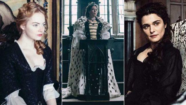 """إيما ستون (يسار) وريتشل وايز (يمين) تتنافسان للفوز بعطف أوليفيا كولمان (الوسط) في فيلم """"المفضلة"""""""