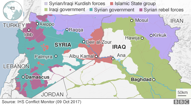 Map showing control of Iraq and Syria (9 October 2017)