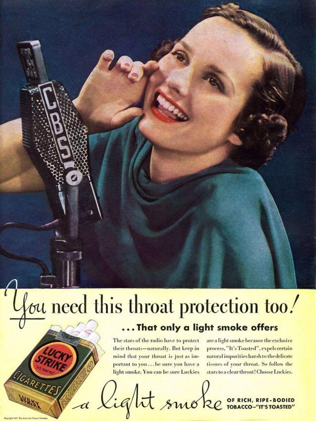 Tütünün sağlıklı ve koruyucu özelliklerini tanıtan, 1937'den kalma bir Lucky Strike reklamı