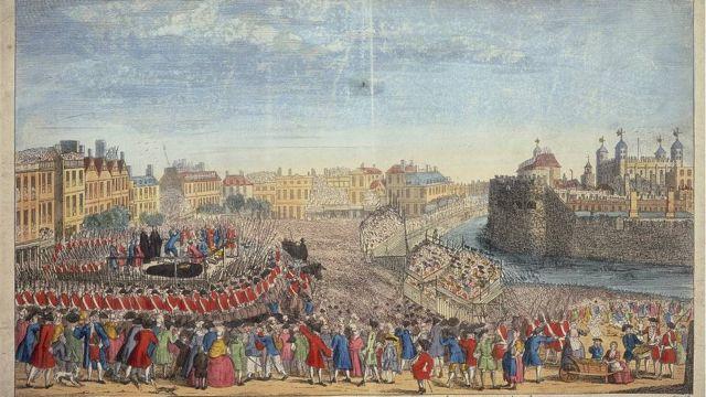 'La decapitación de los señores rebeldes en Great Tower Hill', c1746. La ejecución de los líderes de los rebeldes jacobitas capturados después de la batalla de Culloden.
