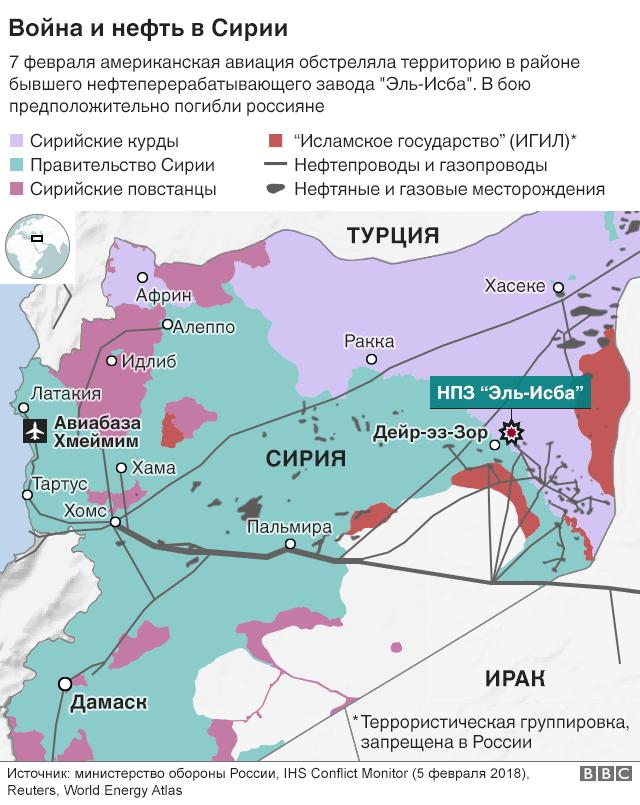 Карта нефти Сирии