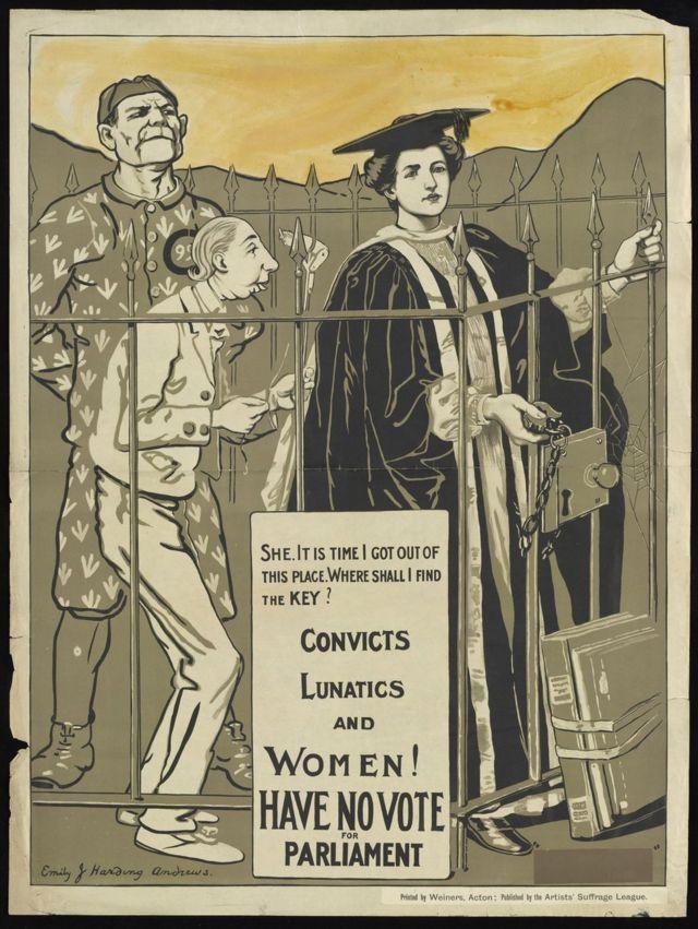 """Надпись на плакате: """"Заключенные, умалишенные и женщины не имеют права выбирать парламент"""""""