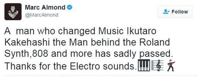 Singer Marc Almond pays tribute to Ikutaro Kakehashi