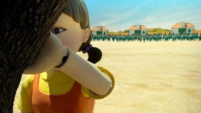Personagem em animação gráfica durante cena da série