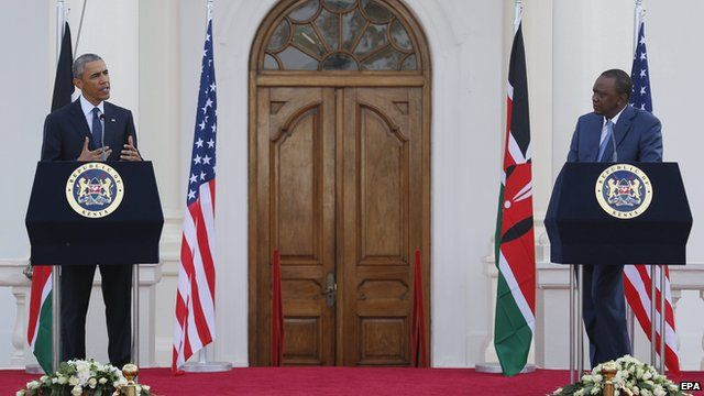 US President Obama and Kenya's President Kenyatta at a joint news conference
