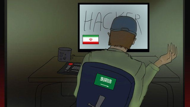 Illustration showing a 'hacker' behind a computer. Flags of Iran and Saudi Arabia can be seen on the monitor and on the back of his chair.