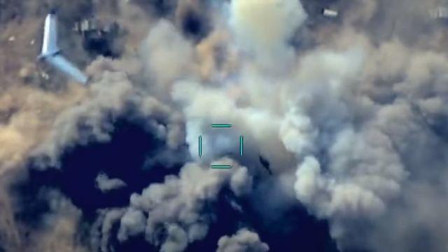 Кадр съемки азербайджанского беспилотника