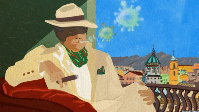 A mafia member smoking a cigar. The smoke coming out of it is green, and resembles a virus. He is overlooking the Sicilian city of Palermo