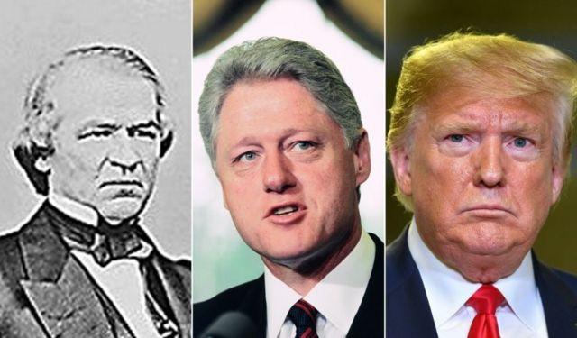 Andrew Johnson, Clinton ve Trump Amerikan tarihinde azledilen başkanlar. Nixon azil oylaması yapılmada istifa etmişti