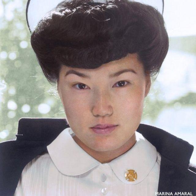 Retrato de la enfermera japonesa Aiko Hamaguchi
