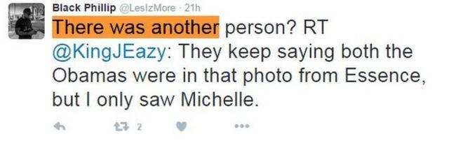 「だれかほかにいた?@KingJEasyのRT:『エッセンスにオバマ夫妻が2人ともいたって言っているけど、自分はミシェルしか見えなかった』」