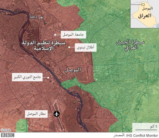 خريطة توضح مناطق سيطرة الجيش العراقي وتنظيم الدولة الإسلامية فى الموصل