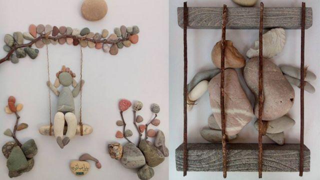 两幅石头艺术品