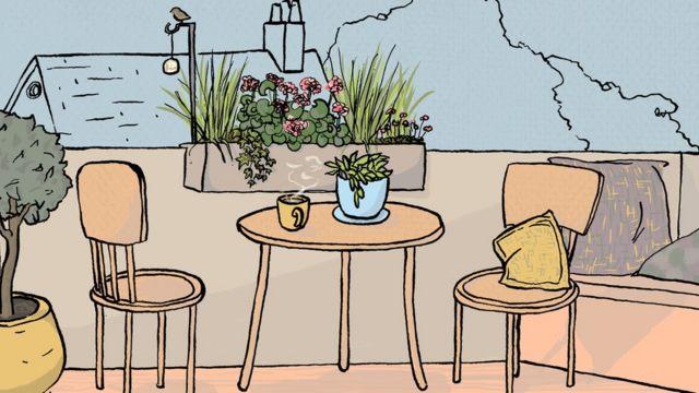 Una taza de té en el jardín.