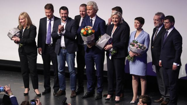 En 2017, varios líderes nacionalistas europeos se encontraron en una conferencia en Koblenz, Alemania.