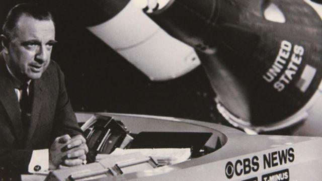 Walter Cronkite reportando sobre la NASA para CBS News, entre 1969 y 1974.