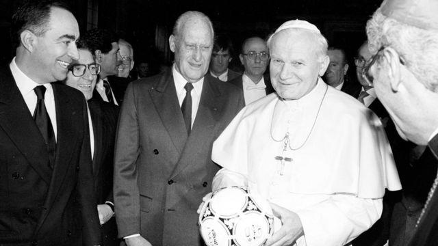 João Havelange com o papa João Paulo 2º em 1989