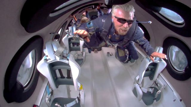 Richard Branson floating in zero gravity on July 11, 2021.