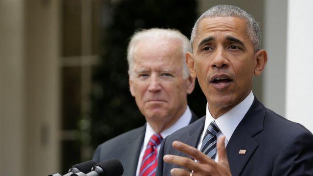 अमरीकी राष्ट्रपति बराक ओबामा और उप राष्ट्रपति जो बाइडेन