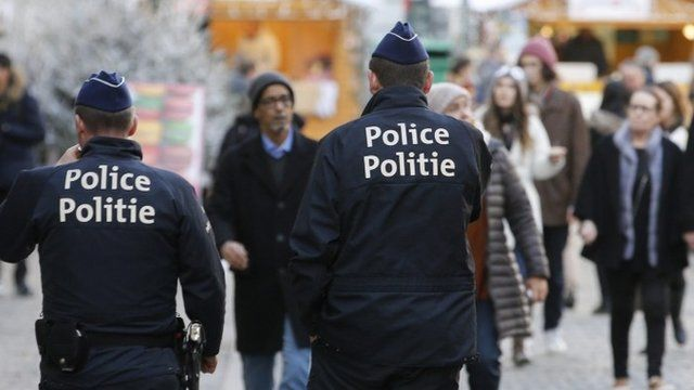 Belgian police on patrol at a Christmas market