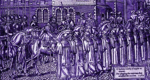 Sir Henry Sidney regresa triunfante al Castillo de Dublín, tras reprimir una rebelión encabezada por el conde de Clanricarde y sus hijos en 1576.