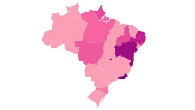 Mapa do Brasil mostrando os Estados em que houve descarte de medicamentos