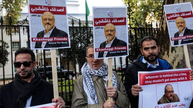 محتجون مناصرون لخاشقجي تظاهروا أمام السفارة السعودية في لندن