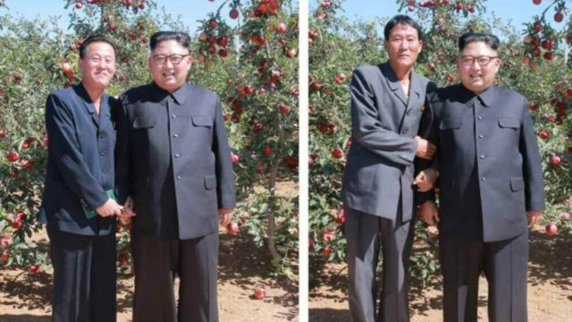 These show individual photos Kim Jong Un took with fruit farmers showing both arm locking and hand holding
