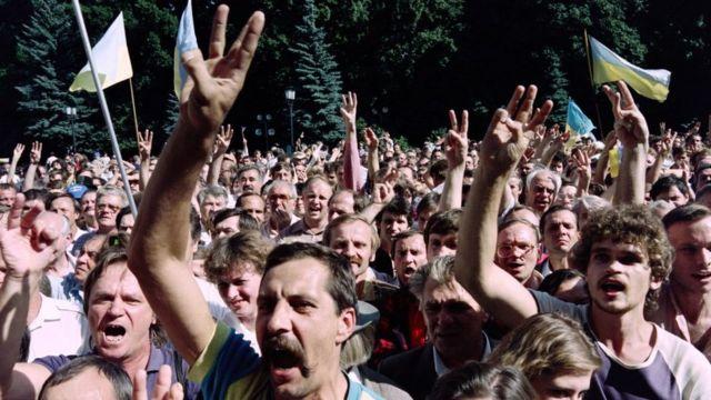 Демонстрация в Киеве в августе 1991 года