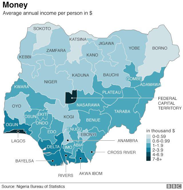 Map showing average annual income per person
