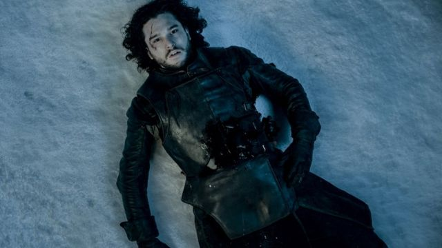 John Snow from Game of Thrones lying dead in the snow