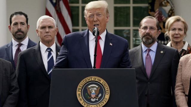 U.S. President Donald Trump holds a news conference about the ongoing global coronavirus pandemic in the Rose garden at the White House March 13, 2020 in Washington, DC
