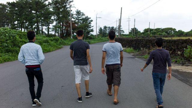 Refugiados yemeníes en la isla surcoreana de Jeju.