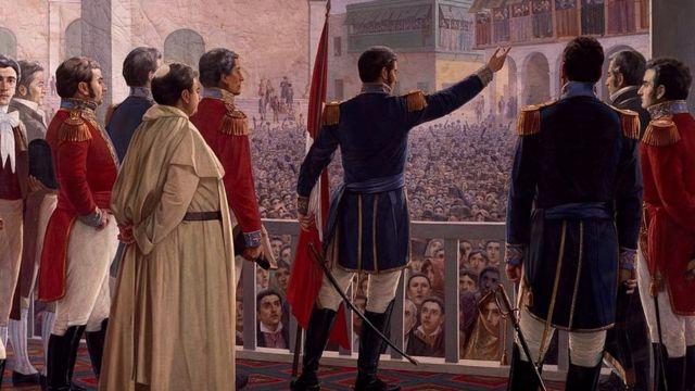 Don José de San Martín proclamando la Independencia de Perú.