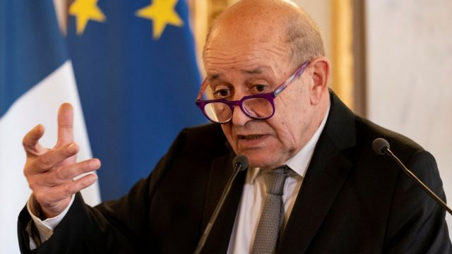 French Foreign Affairs Minister Jean-Yves Le Drian speaks during a news conference with U.S. Secretary of State Antony Blinken at the French Ministry of Foreign Affairs in Paris, France, June 25, 2021.