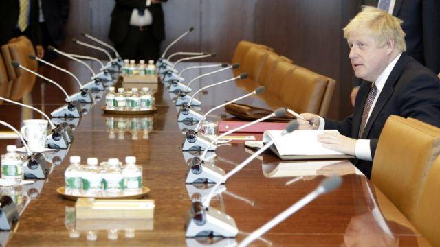 Борис Джонсон перед заседанием в штаб-квартире ООН в Нью-Йорке