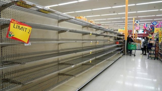 Empty shelves are seen at snack section in Fiesta supermarket after winter weather caused food and clean water shortage in Houston, Texas, U.S. February 19, 2021