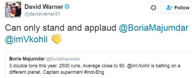 डेविड वार्नर का ट्वीट